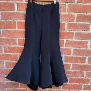 Anthropologie black high-low kick flare dress pant